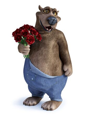 3D rendering of a charming smiling cartoon bear holding a bouquet of red roses in his hand. Ready for Valentines day! White background.