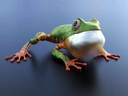 Realistic 3D rendering of a green and orange colored tree frog sitting on a reflective surface with its inflated vocal sac showing.