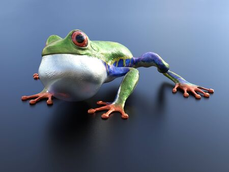 Realistic 3D rendering of a green, blue and orange colored red-eyed tree frog, Agalychnis callidryas, sitting on a reflective surface with its inflated vocal sac showing.