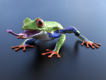 Realistic 3D rendering of a green, blue and orange colored red-eyed tree frog, Agalychnis callidryas, with its tongue out.
