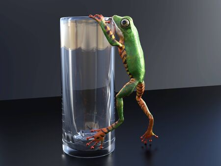 Realistic 3D rendering of a green and orange colored tree frog climbinghanging on an empty glass.