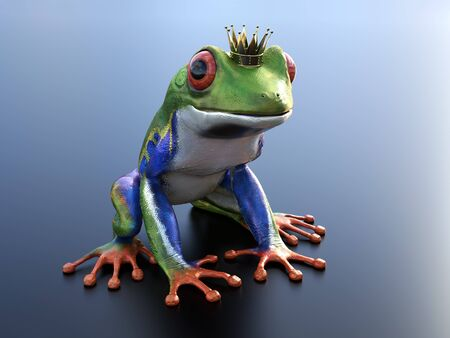 Realistic 3D rendering of a green, blue and orange colored red-eyed tree frog, Agalychnis callidryas, wearing a crown - ready to be kissed and turned into a prince. Stok Fotoğraf