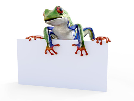 Realistic 3D rendering of a green, blue and orange colored red-eyed tree frog, Agalychnis callidryas, sitting on an empty sign. White background.