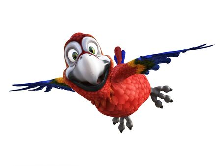 3D rendering of cartoon parrot flying with its wings out, smiling and looking very happy. White background.