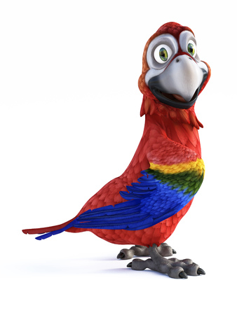 3D rendering of cartoon parrot smiling and looking very happy. White background.