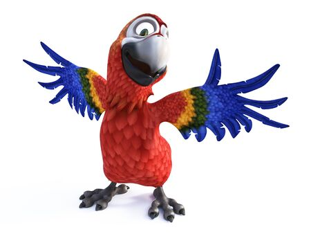 3D rendering of cartoon parrot holding out its wings, smiling and looking very happy. White background.