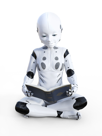 3D rendering of robotic child sitting on the floor and reading a book. White background. Stock Photo