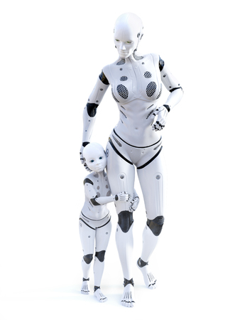 3D rendering of a robot mother with her child - the modern family of the future. White background.