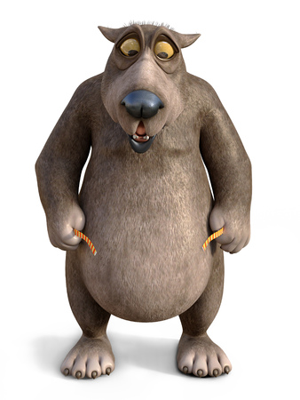 3D rendering of a chubby, charming cartoon bear looking shocked when measuring his waist. White background.