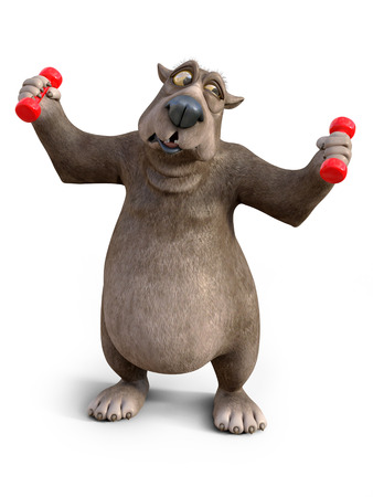3D rendering of a charming cartoon bear exercising with dumbbells. He looks a bit strained. White background.