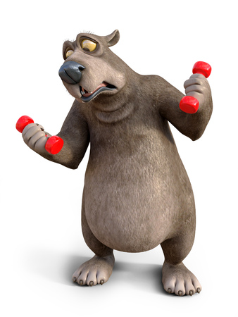 3D rendering of a charming cartoon bear exercising with dumbbells. He looks like its too heavy. White background.