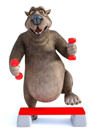 3D rendering of a smiling, charming cartoon bear exercising with dumbbells and a step up board. White background. Stock Photo