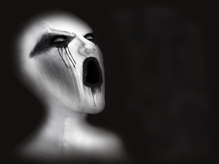 Portrait of a screaming white ghost or daemon, 3D rendering. Black background.