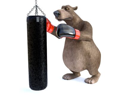 3D rendering of a charming cartoon bear wearing boxing gloves, punching a heavy bag. White background. Stock Photo
