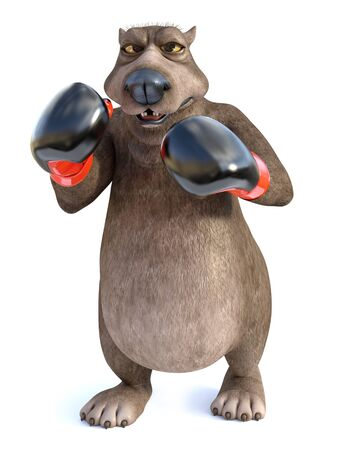 3D rendering of a charming cartoon bear wearing boxing gloves. He looks angry, ready to fight. White background.