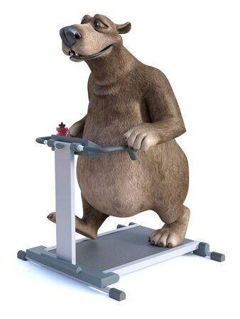 3D rendering of a smiling, charming cartoon bear exercising by walking on a treadmill. White background. Stock Photo