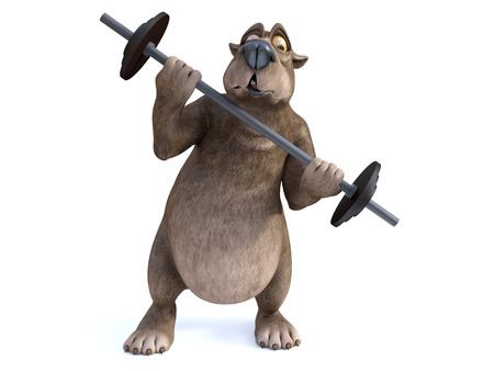 3D rendering of a charming cartoon bear trying to lift a barbell. He looks like its too heavy. White background.