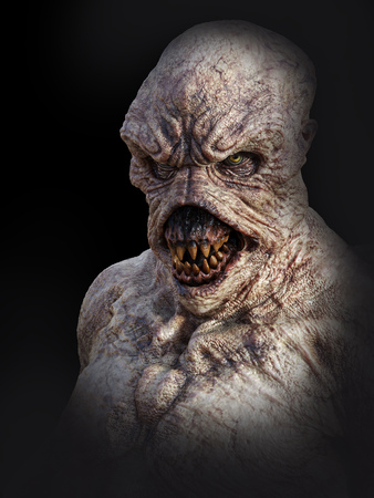 Portrait d'une créature monstre démon à la recherche de colère, rendu 3d. Fond noir. Banque d'images
