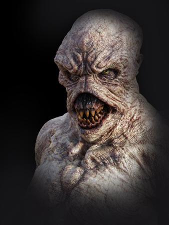 Ritratto di una creatura mostro demone che sembra arrabbiato, rendering 3D. Sfondo nero. Archivio Fotografico