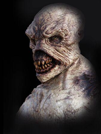 Portrait of a daemon monster creature, 3D rendering. Black background.
