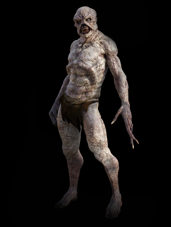 Full figure portrait of a daemon monster creature standing, 3D rendering. Black background. Фото со стока