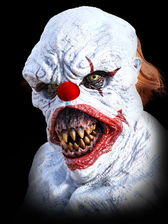 Portrait of an evil looking clown, 3D rendering. Black background. 写真素材