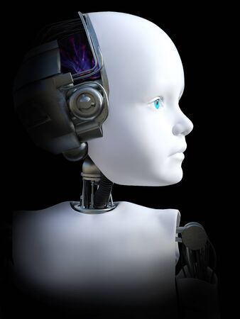 Face portrait of a robot child, 3D rendering. Black background.