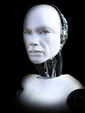Face portrait of a male robot, 3D rendering. Black background. Stock Photo