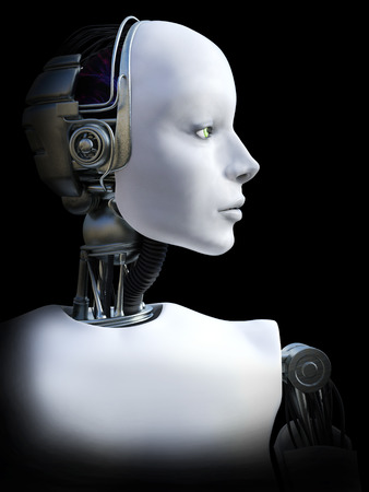 Face portrait of a female robot, 3D rendering. Black background. Stock Photo