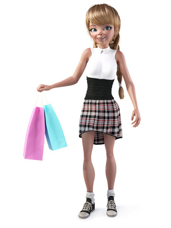 3D rendering of a cute smiling teenage cartoon girl holding two shopping bags. White background. Stockfoto