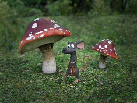 3D rendering of a cute smiling cartoon mouse walking at night with a lantern in a fairytale toadstool forest.