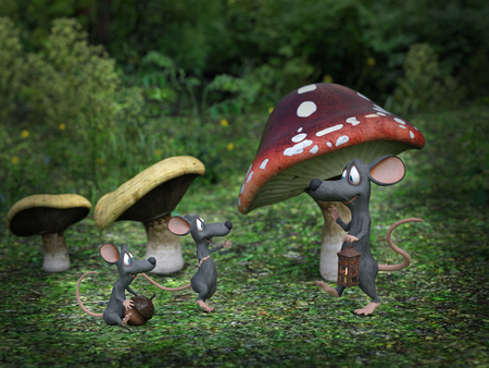 3D rendering of cartoon mouse daddy being greeted by his mice kids at night in a fairytale toadstool forest.