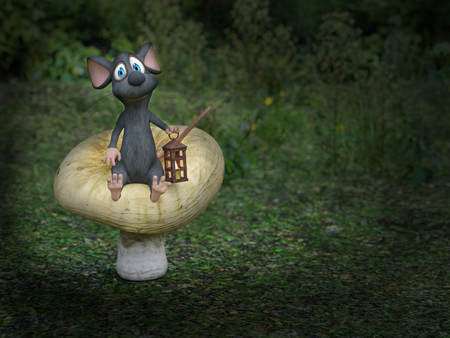 3D rendering of a cute smiling cartoon mouse sitting on a mushroom, holding a lantern in a fairytale toadstool forest at night. Stock Photo