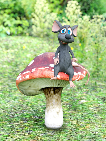 3D rendering of a cute smiling cartoon mouse sitting on a fly agaric mushroom in a fairytale toadstool forest at daytime.