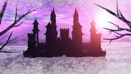 3D rendering of a fairy tale fantasy winter castle with frost around the edges of the image.
