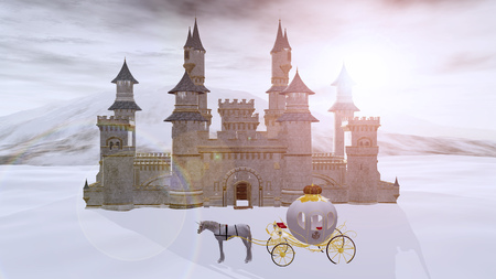 3D rendering of a fairy tale fantasy winter castle with a unicorn dream carriage waiting outside. Editorial