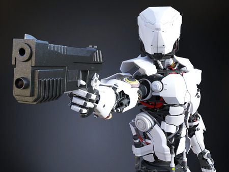 3D rendering of a futuristic robot police or soldier holding up a gun. Dark background.