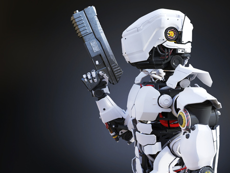 3D rendering of a futuristic robot police or soldier holding a gun. Dark background. Stock Photo