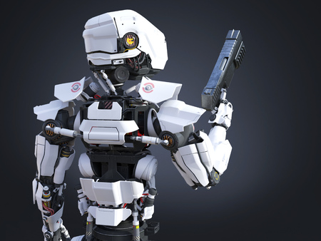 3D rendering of a futuristic robot police or soldier holding a gun with his back against the camera. Dark background.