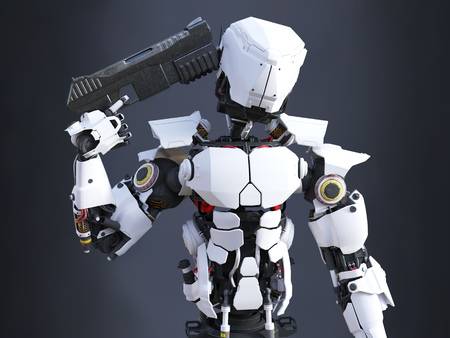 3D rendering of a futuristic robot police or soldier holding a gun to his head, ready to self-destruct. Dark background. Stock Photo