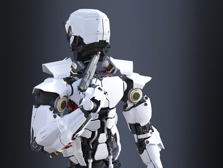 3D rendering of a futuristic robot police or soldier holding a gun to his chin, ready to self-destruct. Dark background.