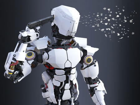 3D rendering of a futuristic robot police or soldier holding a gun to his head and pulling the trigger, self-destructing. The head is breaking apart. Dark background. Stock Photo