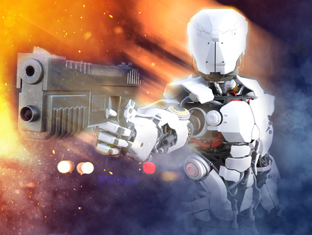 3D rendering of a futuristic robot police or soldier holding up a gun with fire and smoke around him. Stock Photo