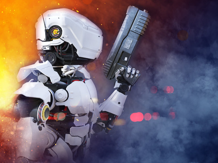 3D rendering of a futuristic robot police or soldier holding a gun with fire and smoke around him. Stock Photo