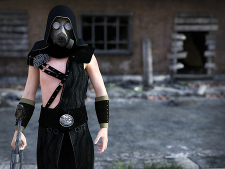 3D rendering of a man wearing a gas mask and holding a rifle in a futuristic dystopian world. Ruined building in the background.