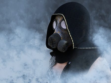 3D rendering of a man wearing a gas mask surrounded by smoke in a polluted futuristic dystopian world.