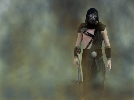 3D rendering of a man wearing a gas mask and holding a rifle in a polluted futuristic dystopian world. Toxic smoke all around him.