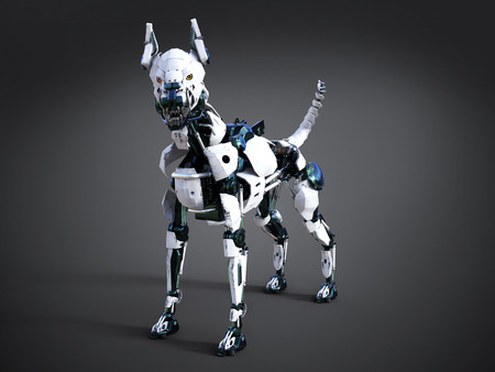 3D rendering of a futuristic mean looking robot dog. Dark background. Stock Photo