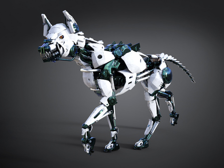 3D rendering of a growling futuristic mean looking robot dog. Dark background.