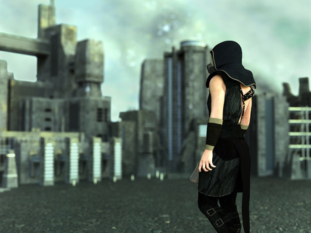 3D rendering of a man wearing a gas mask and holding a rifle in a futuristic dystopian world. Industrial city buildings in the background with a polluted sky. Stock Photo